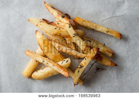 Baked Fries On Gray Background