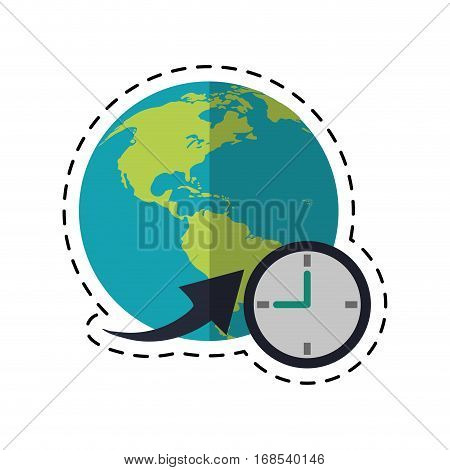 global world around clock business concept-dotted line vector illustration eps 10