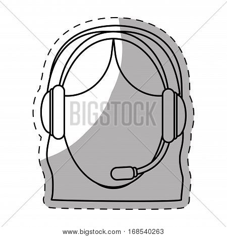 female call center telemarketing tech service worker wearing headset icon image vector illustration design