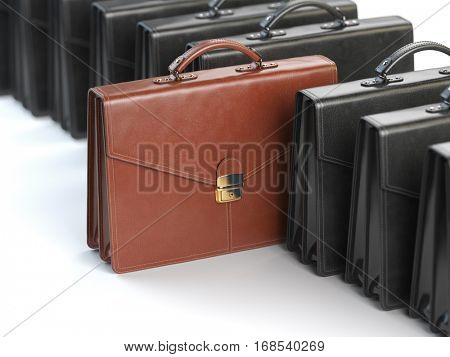Choosing stock market portfolio or briefcase concept. One unique brown briefcase in the row of black briefcases. 3d illustration