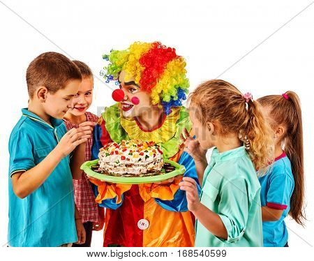 Birthday child clown playing with children. Kid cakes celebratory in hands of events organizer man. Fun of group people on white background