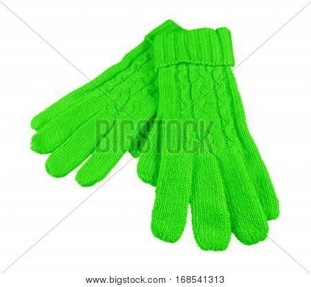 Woolen Gloves Isolated - Green