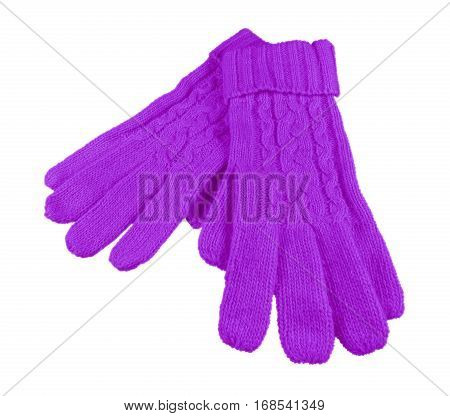 Woolen Gloves Isolated - Violet