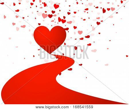 White love valentine's background with red hearts. Vector illustration.