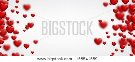 Valentine's white love banner with red 3d hearts. Vector illustration.