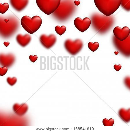 Valentine's white love background with red 3d hearts. Vector illustration.
