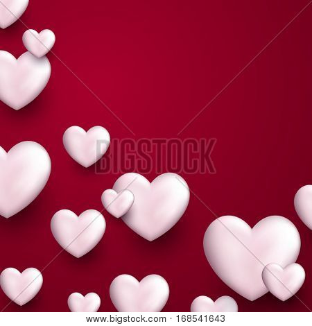Valentine's pink love background with white 3d hearts. Vector illustration.