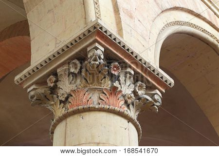 Column capital in the nave, built 11th century - Saint-Julien cathedral, Le Mans, France