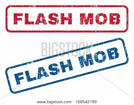 Flash Mob text rubber seal stamp watermarks. Vector style is blue and red ink caption inside rounded rectangular shape. Grunge design and unclean texture. Blue and red signs.