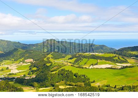 Azores archipelago landscape with ocean on a horizon. Aerial view on Sao Miguel island in Azores Potugal.