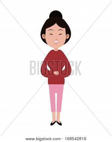 cute asian woman bun hair adult pink pants vector illustration eps 10