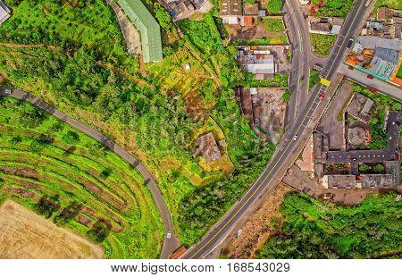 Captivating Aerial View Of Banos De Agua Santa Tungurahua Province South America