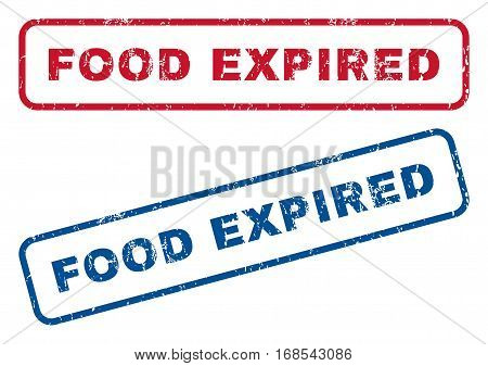 Food Expired text rubber seal stamp watermarks. Vector style is blue and red ink caption inside rounded rectangular shape. Grunge design and unclean texture. Blue and red emblems.