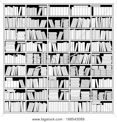 Bookshelf In Black And White. Vector Illustration.