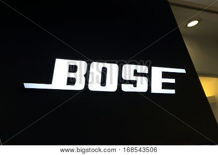 HONG KONG - NOVEMBER 9, 2016: Bose. Bose is an American privately held corporation based in Massachusetts designing and imports audio equipment.