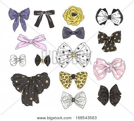 Big fashion collection of bows. Vector colorful illustration in chic style.