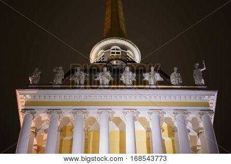 sculptural group in Saint Petersburg in the night. Admiralty building