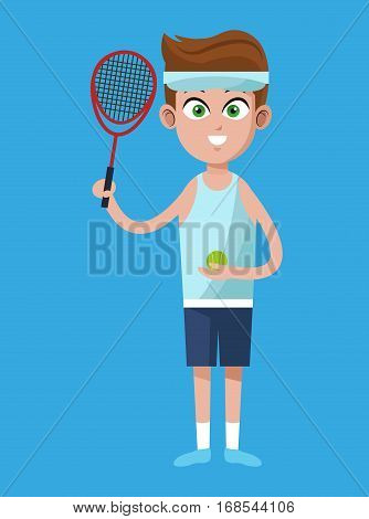 handsome boy tennis racket ball and headband vector illustration eps 10