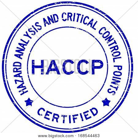 Grunge blue HACCP (Hazard Analysis and Critical Control Points) certified round rubber stamp