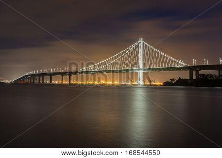 Bay Bridge's Eastern Span at Night from Treasure Island, San Francisco, California, USA