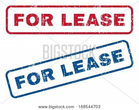 For Lease text rubber seal stamp watermarks. Vector style is blue and red ink tag inside rounded rectangular shape. Grunge design and dust texture. Blue and red emblems.