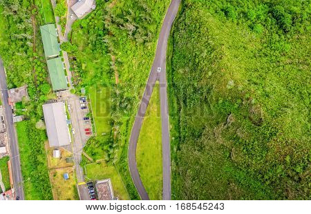 Aerial City View Of Small Urban Landscape In Banos De Agua Santa Tungurahua Province South America