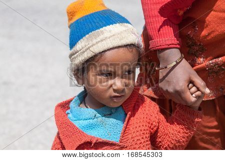 A Young Girl In Badrinath, North India