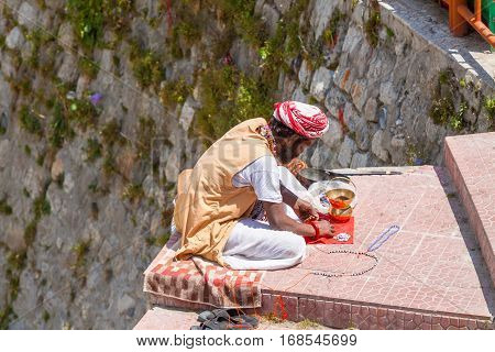 A Sadhu Selling Beads In Uttarakhand, North India