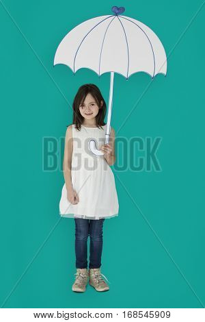 Portrait of a Little Caucasian Girl Smiling with an Umbrella Isolated