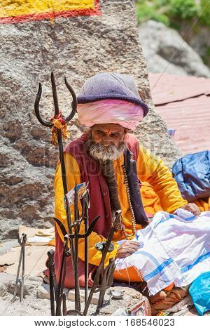 An Old Sadhu In Badrinath, North India