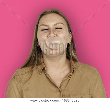 Caucasian Woman Bubble Gum