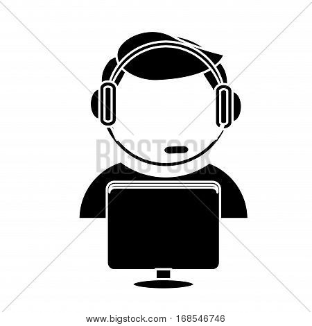 technical support assistant icon image, vector illustration