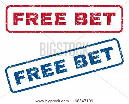 Free Bet text rubber seal stamp watermarks. Vector style is blue and red ink caption inside rounded rectangular banner. Grunge design and scratched texture. Blue and red emblems.