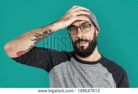 Caucasian Man Holds Head Portrait