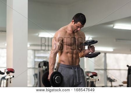 Biceps Exercise With Dumbbell In A Gym