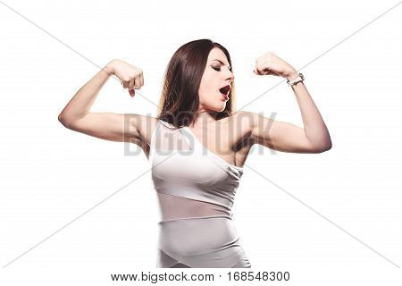Girl Showing Muscles