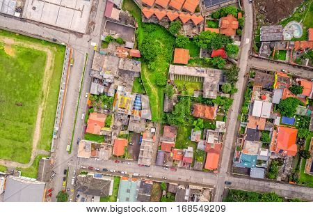 Aerial View Of Residence Small Town Districts In Banos De Agua Santa Tungurahua Province South America