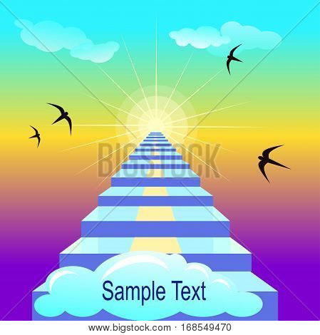 Vector staircase leading to heaven. Motivating illustration. Some flying birds