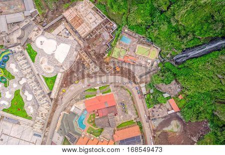 High Altitude Drone Shot Of Banos De Agua Santa Touristic Town Tungurahua Province South America