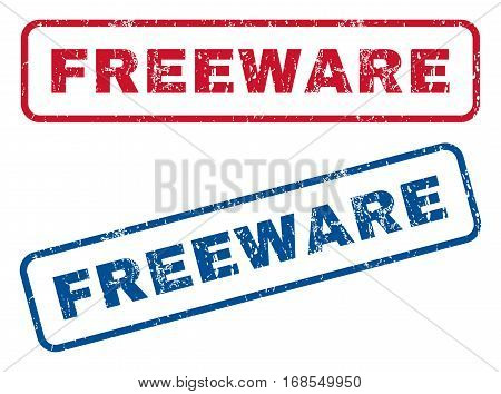 Freeware text rubber seal stamp watermarks. Vector style is blue and red ink caption inside rounded rectangular shape. Grunge design and scratched texture. Blue and red emblems.