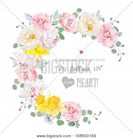 Spring floral vector round frame with peony rose camellia daffodil eucalyptus brunia on white. Pink and white flowers. Half moon shape bouquet. All elements are isolated and editable