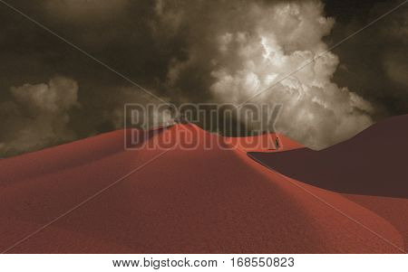 Lonely man in desert  3D Render