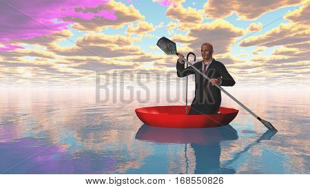 man rowing oars in the red upturned umbrella on water   3D Render