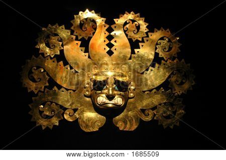 Peruvian Ancient Mask Made Out Of Gold