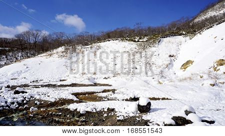 Noboribetsu Onsen And Bridge Hell Valley Snow Winter Bluesky