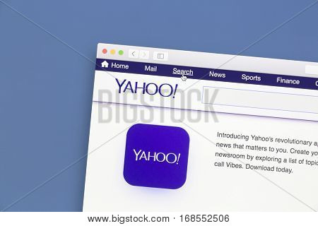 Ostersund, Sweden - Jan  16, 2017: Yahoo website on a computer screen. Yahoo is a multinational Internet corporation globally known for its Web portal, search engine Yahoo Search, and related services