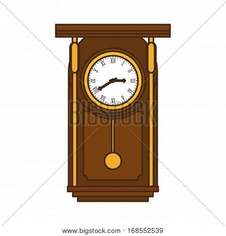 brown pendulum clock icon image, vector illustration design