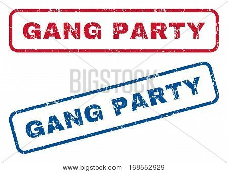 Gang Party text rubber seal stamp watermarks. Vector style is blue and red ink caption inside rounded rectangular banner. Grunge design and scratched texture. Blue and red emblems.