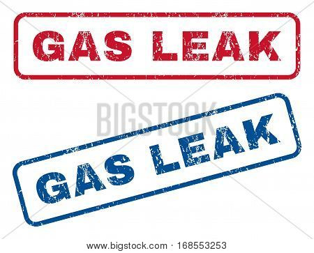 Gas Leak text rubber seal stamp watermarks. Vector style is blue and red ink tag inside rounded rectangular shape. Grunge design and scratched texture. Blue and red emblems.