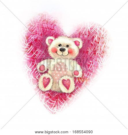Valentine's Day illustration with cute teddy bear. Valentine card. Teddy bear toy sketch isolated on heart background. Love design. Background with bear and heart.
